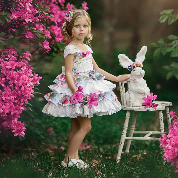 Baby girl dresses Children ins patchwork floral dress with bow kids designer clothes girls pleated lace cake princess prom dresses clothing