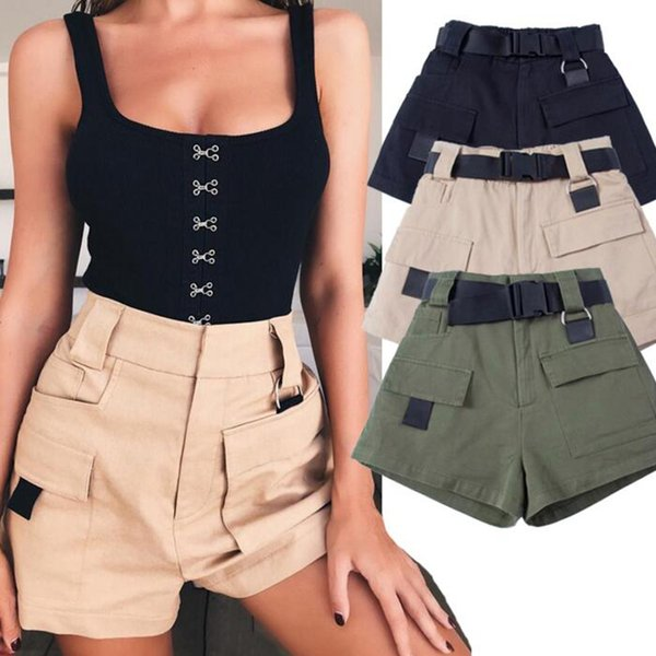 Women Military Style Cargo Shorts With Belt High Short Pants 2018 Summer Elastic Waist Army Green Bottoms C19040901