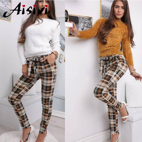 Yellow Plaid Pants Women High Waist Pants Bow Tie Office Lady Elegant Lace Up Trousers Female Harem Streetwear