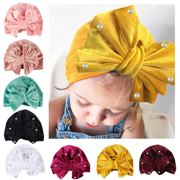 Bow Knotted Pearl Soft Velvet Hat Bandanas baby girls kids knot turban headband hair accessories for children headwrap