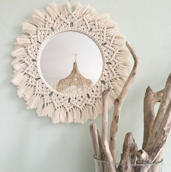 Makrome Ayna El yapımı Goblen Makyaj Ayna Işıklı Kompakt Ev Yatak ESPEJOS DECORATIVOS Duvar Aynalar BB Süsleri T200114