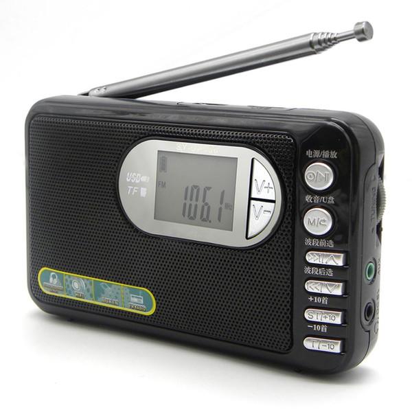 LED Ekran Bellek ile JINSERTA AM / FM / SW Taşınabilir Radyo Tam Gruplar Alıcı Oynatma TF Kart USB AUX Destekler