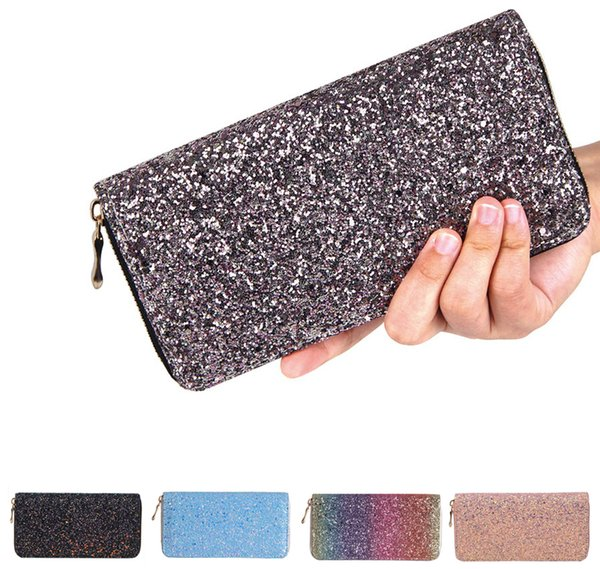 Sparkly Sequined Long Wallet Luxury Glitter Pu Leather Purse Ladies Money Pouch Cash Holder Crystal Clutch Purse