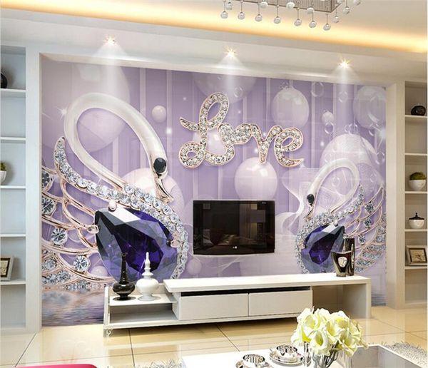 Custom Wallpaper 3d Love Swan Jewelry Background Wall 5d Papel De