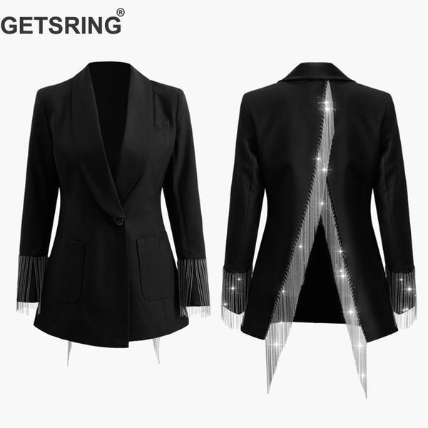 GETSRING Blazer para mujer Blazers para mujer irregulares Chaquetas para mujer de manga larga Borla dividida Traje Blazer Traje de mujer Abrigo de primavera