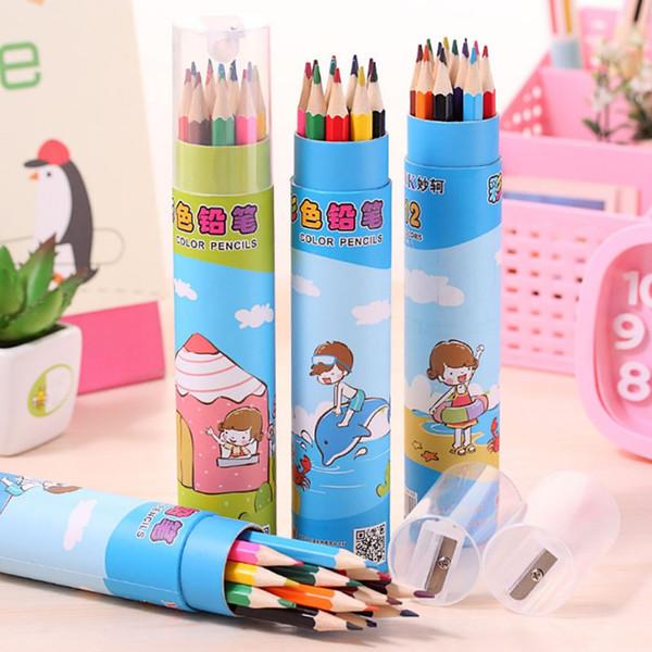 12 Stücke Bunte Bleistifte In Niedlichen Cartoon Bleistifte Fall Kunst Farbe Zeichnung Bleistift Schulbedarf schreibwaren Geschenk für Kind Mädchen