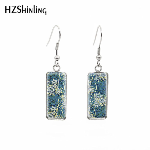 New William Morris Patterns Rectangular Earrings The Strawberry Thief Tapestry Fish Hook Earring Silver Glass Jewelry