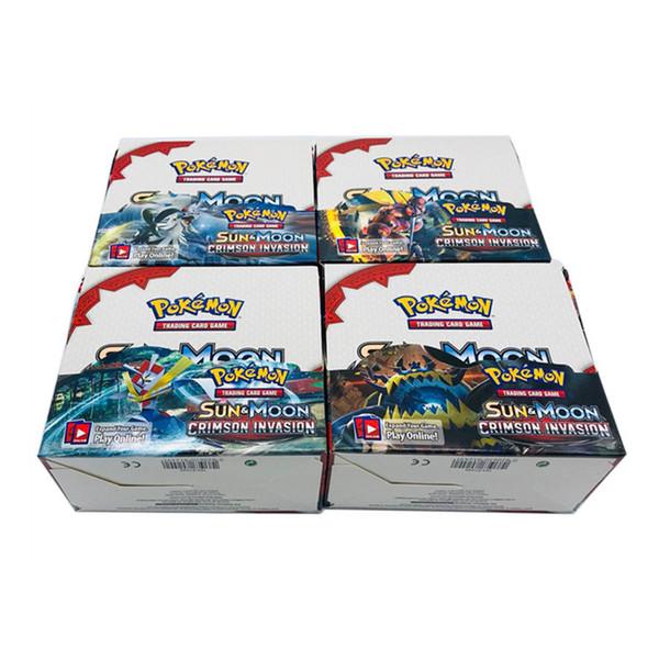 324 unids / caja Anime Collection Card Serie de juegos de cartas coleccionables Negro Blanco Ultra SunMoon Impresión a Color Monstruos Tarjetas para Niños juguete de regalo de la novedad