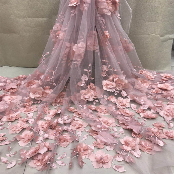 VILLIEA Very Good Quality Applique Design Lace Fabric Beaded Tulle French Lace With 3d flowers Wedding party dress lace