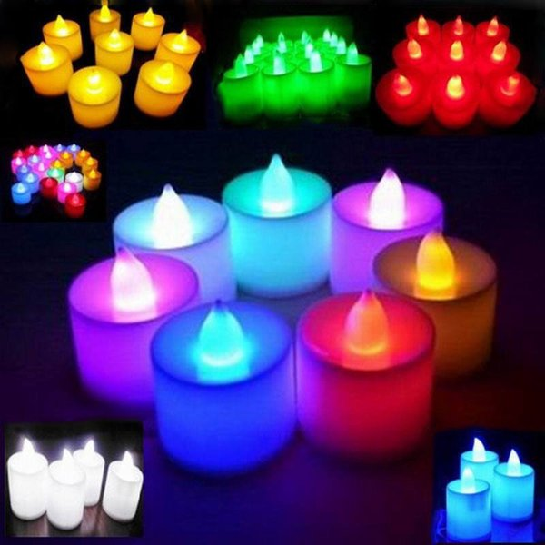 top popular 3.5*4.5 cm LED Tealight Tea Candles Flameless Light Battery Operated Wedding Birthday Party Christmas Halloween Decoration C796 2021