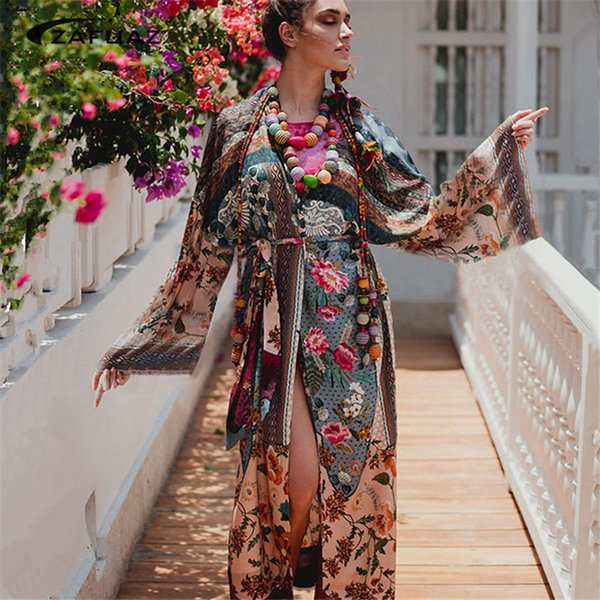Beachwear 2019 Long Beach Dress Women Bikini Beach Cover Up Swimsuit Kaftan Pareo Summer Cover-Ups Swimwear Tunic Bathing Suit