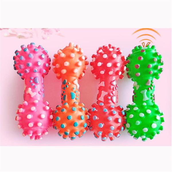 Nuovo cane arriva giocattoli colorati punteggiato manubri a forma di giocattoli cane spremere stridulo faux bone pet masticare giocattoli per cani