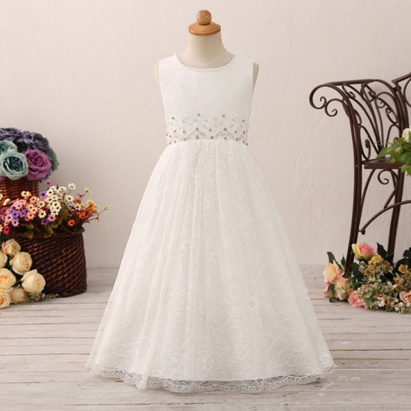 New Kids Designer Jewel Lace Beaded Crystals Flower Girls Princess Dresses Pettiskirt Boutique Clothes Formal Child Dress Australia 2019 From