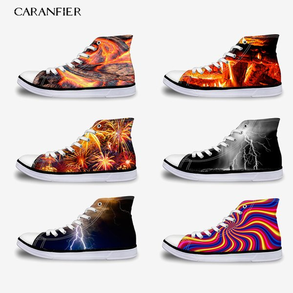 CARANFIER 2019 New Summer Printing Harajuku Sneakers Canvas Shoes High To Help Increase Unisex Casual Wild Round Toe 35-45