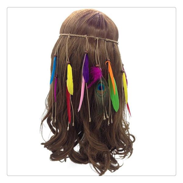 Bohemien piume di pavone fascia per capelli piuma indiana fascia nappa corda di canapa per le donne ragazze moda carino festival copricapo