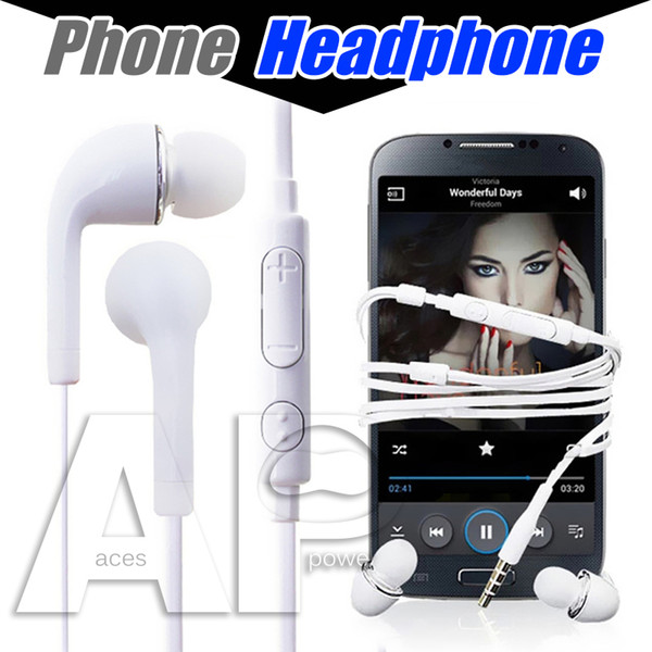 top popular Earphones With Mic For Samsung Galaxy S7 S6 S4 J5 N7100 Headphones In-ear PVC Mobile Phone Handsfree Microphone no package 2021