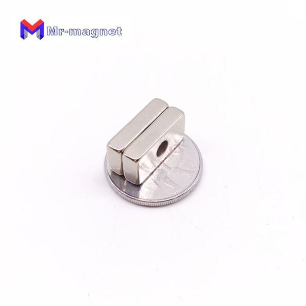 2019 imanes 20pcs 25X10x5 Mm 5mm Hole N35 Super Strong Rare Earth Countersunt Ring Block Neodymium Magnet Fridge Refrigerator Magnets