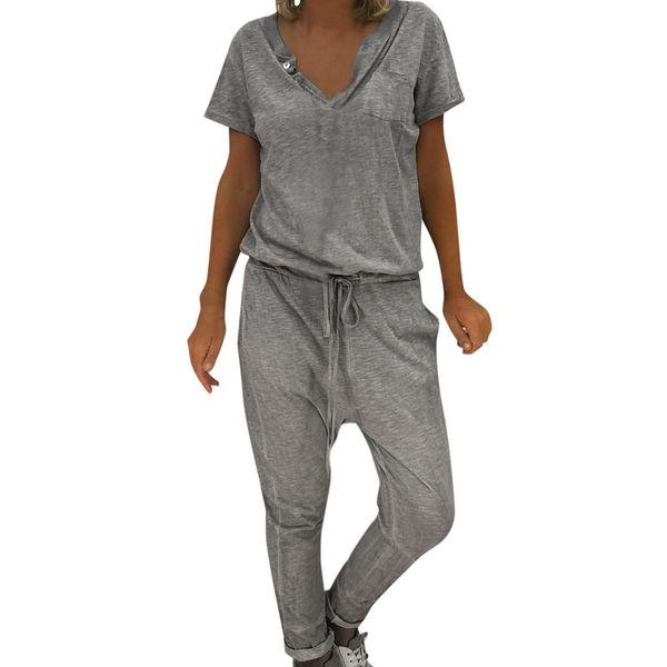 Harem Jumpsuits Drawstring Women Baggy Jumpsuit Casual Summer Long Short Sleeve Leisure Overalls Rompers Loose V-neck Streetwear