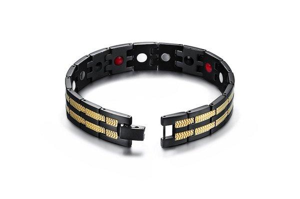 BlackGold 4 Éléments de soins de santé Bracelet Pour Hommes Ion négatif Germanium Infrarouge Magnétique Bracelet Père de GifT SBRM-097