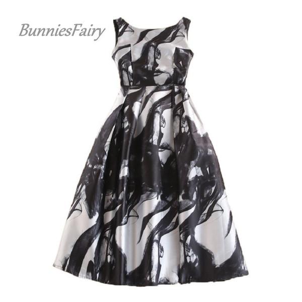 Bunniesfairy Celebrity-inspired Women Elegant Vintage Ink Painting Floral Print High Waist Midi Flare Dress Vestido De Fiesta Q190508