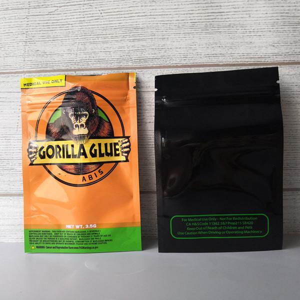 top popular GORILLA GLUE BAG 3.5g Smell Proof Bags Vape Packaging for Dry Herb GORILLA GLUE mylar Zipper bag DHL Free 2021
