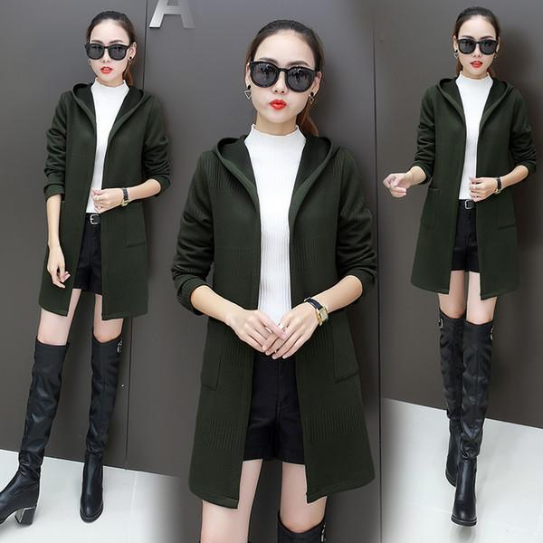 Fashion Long sleeve Sweater Coat 2019 Spring autumn New Hooded Coat female Knit cardigan Tops Korean style sweater women 2203