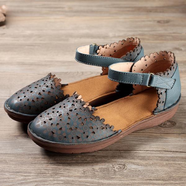 Hot Summer Closed Toe Mujer Sandalias de cuero de vaca zapatos hechos a mano para mujer Cubrir Tacones Sandalias Mujeres Mori Style Hollow transpirable