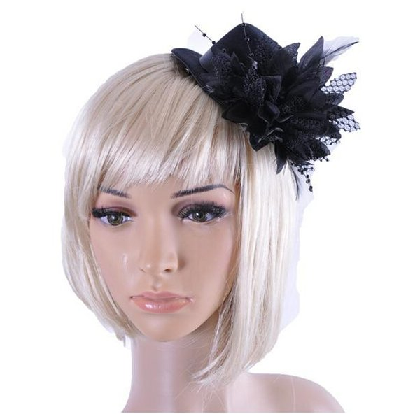 Feather Hat Wedding Ribbon Gauze lace Feather Flower Mini top hats fascinator party hair clips caps homburg millinery Bridal Accessories