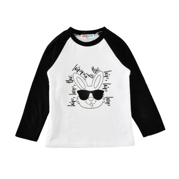 2019 Baby girls 12M-5Y Easter T-shirt 4 Color Children's Clothing Hip Hop Sunglasses Rabbit Letter Rags Long-Sleeved Kids Clothing hot sell