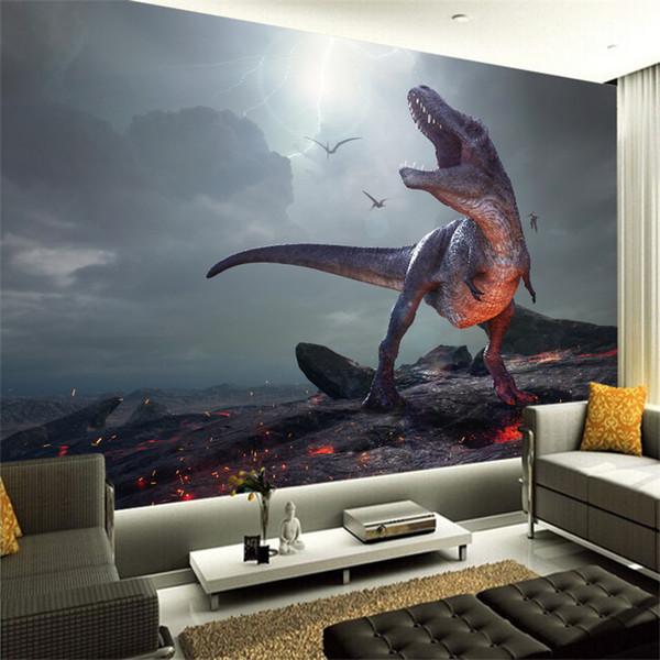 3D новый пользовательский холст росписи яркий динозавр стикер стены ПВХ плакат обои Гостиная Спальня Home decor