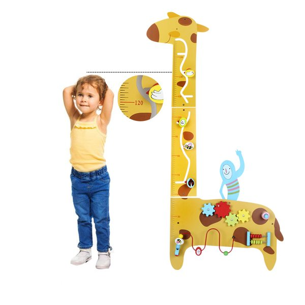 Healthy wood toy Multi-function Children games wall Metope game giraffes height measuring instrument Abacus Round beads toy gift