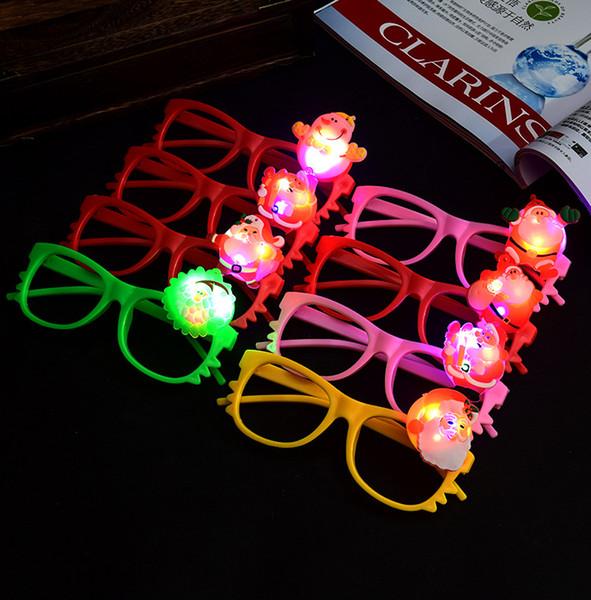 Niño Niña Santa Claus LED parpadeante luz Gafas Up Kids Juguetes de Navidad que brillan Vasos Navidad Decoración de fiesta