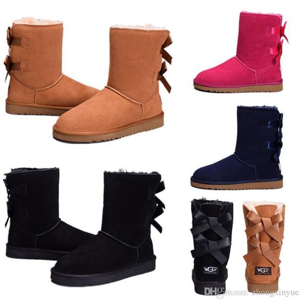 Botas de neve inverno austrália clássico de alta qualidade wgg botas de couro real bailey bowknot mulheres bailey bow joelho botas sapatos tamanho dos eua 5-10