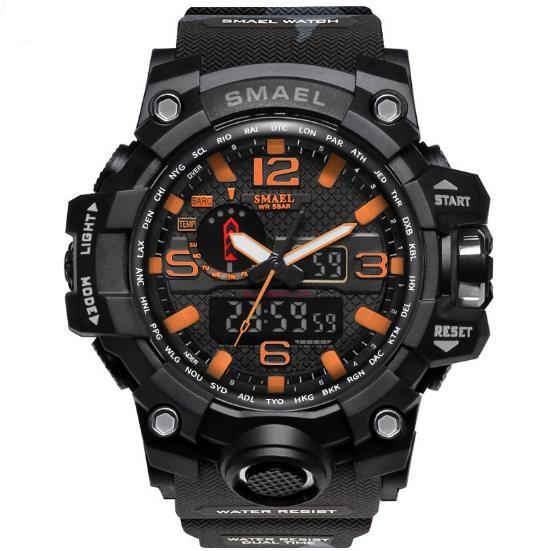 SMAEL Sport Men Watches Dual Time Camouflage strap Military Army LED Digital watch 50M Waterproof S Shocking Men Clock wristwatch