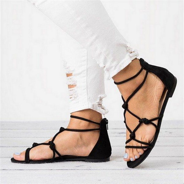 Summer Braided Strap Beach Open Toe Shoes Female Thin Strap Back Zipper Bandage Roman Sandals Women Flat Sandals