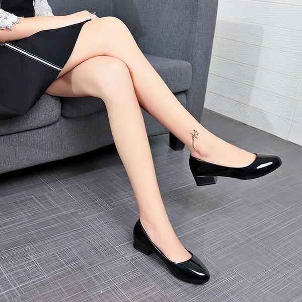 Moda kadın iş ayakkabıları kare yüksek topuklu kadın rahat siyah ayakkabı pompalar