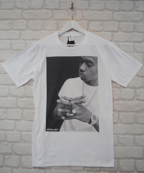 Актуальный факт Nas White Hip Hop Rapper Футболка с городским вырезом и круглым вырезом