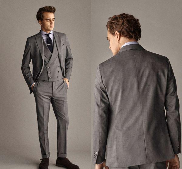 Bir Öz Tarz Ekose Elbise Ceket Custom Made Erkekler Suit Damat Smokin Resmi Takım Elbise Iş Erkek Giyim (ceket + Pantolon + Yelek) Yeni Varış