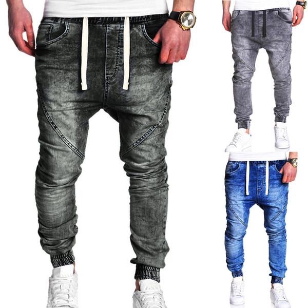 2019 designer de comércio exterior atacado primavera e outono nova moda casual dos homens clássico lavado elástico ocasional harem jeans soltos atacado