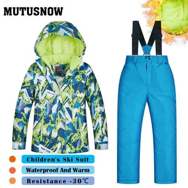 MUTUSNOW Boys Ski Suit New Children's Brands High Quality Windproof Waterproof Snow Super Warm Sets Child Winter Thicken Snowboard Suit LVXQ