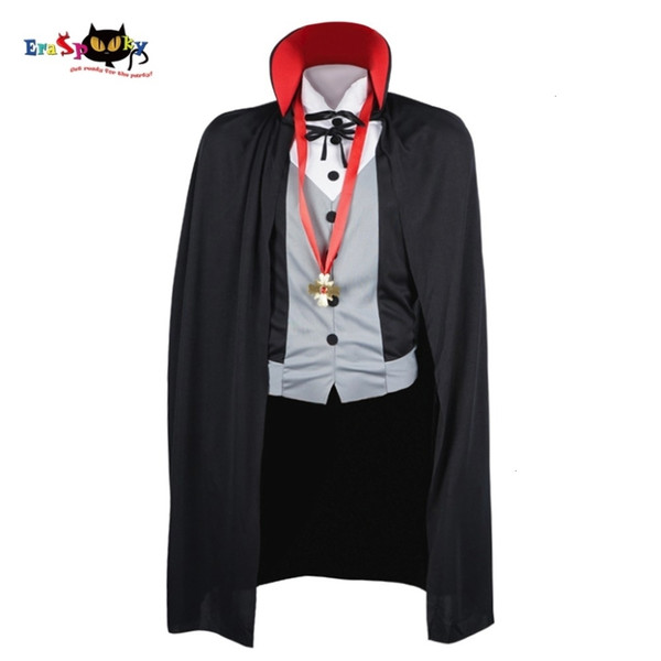 Hommes Vampire Costume Costumes d'Halloween pour adultes Homme Fantasy Cosplay Costume gothique Cape Cape Collier Party stand CarnivalMX190921