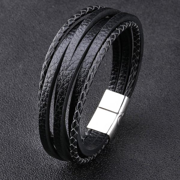 Bracciale Uomini multistrato Bangles cuoio magnetica-chiusura vacchetta intrecciata multistrato Wrap braccialetto d'avanguardia bracciale Pulsera Hombre