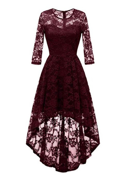 Jewel High Low Asymmetrical Bridesmaid Dress Lace Ruffles Party Prom Homecoming Dresses Zipper Back 3/4 Long Sleeves