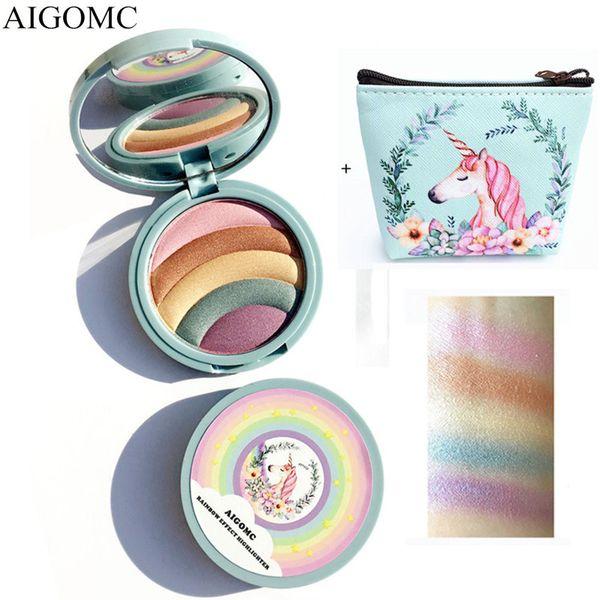 AIGOMC Rainbow Highlighter Eyeshadow Palette Powder Eyes Makeup Crystal Sugar Bronzer Glow Shimmer Eye shadow with Cosmetic bag
