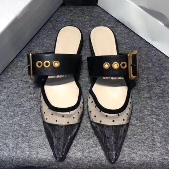 bloomstore / Designer Women Tulle Flat Sandals Embroidered Slingbacks Flats Slippers Slides Polka Dots Lady Casual Shoes Sandalias
