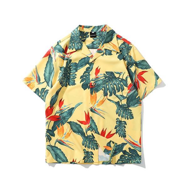 Mode estivale Hommes Personnalité Complet du corps Floral Hawaïen Manches courtes Revers T-shirts Harajuku Streetwear Homme Chemise Décontractée