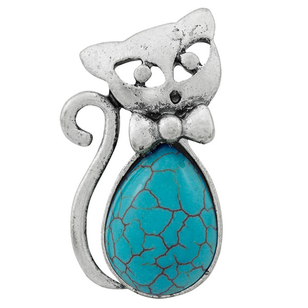 Europe and America Ring Green Pine Ancient Silver Retro Bow Kitten Shape Turquoise Female Ring