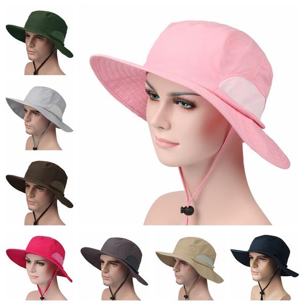 Açık Güneşlik Kap Geniş Ağız Yaz Unisex Şapka Hızlı Kuru UV Güneş Koruyucu Şapka Nedensel Seyahat Kamp Güneş Şapka TTA846