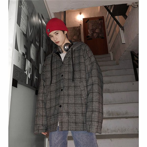 2018 Winter Casual Youthful Plaid Gray Cap Jacket Cotton-padded Clothes Male Hat Loose Coat Lattice Warm Men's Snow Parka M-XL