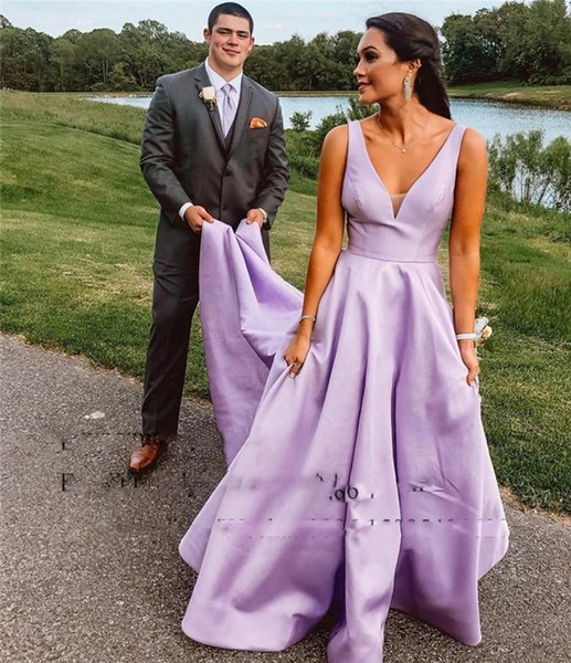 A-Line Satin Long Prom Party Gowns With Pocket V-Neckline Sleeveless Open Back Purple Evening Dresses vestidos de fiesta de noche